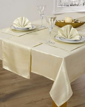 "CHRISTMAS GOLD SHIMMER GLITTER METALLIC TABLECLOTH 52""X90"" £10.99 EACH FREE P&P"